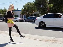 It's sure a hot day outside. Stunning blond schoolgirl, Iris Rose wishes she had a ride home when Mr. Pete rolls up to her in his nice-ass whip and offers