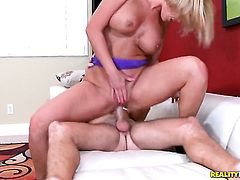 Blonde with bubbly butt and bald pussy and hot blooded guy have oral sex on camera for you to watch and enjoy