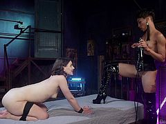 Nikki has got Katharine right where she wants her. The little white girl is gagged to muffle her moans and cries, as Nikki uses vibrators on her pussy and shocks her with electric wands. The gag is removed, so she can service her dominant.