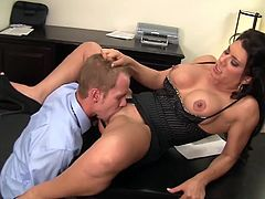 Smoking-hot cougar, Leena Sky catches one of her office peons, Sonny Hicks photocopying his dick! As punishment, she grabs him by the cock and walks him into her personal office to reprimand.