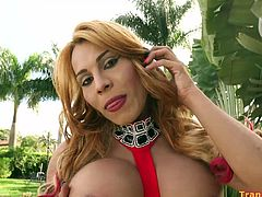 Two hot transsexuals Dubraska Ramirez and Shakira get their phat asses fucked in this hot foursome. These horny t-babes kiss and lick cum from each other's faces. They just loves that taste!