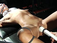 Bdsm slave slut screaming in pain for whips and wax tied up and in chains and made to cum with a big dildo she barely can take the master pain but her orgasm makes her scream and begs the master for mercy until he fills her mouth with cum and makes her sw