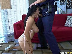 Romi Rain is a cock hungry wife. Her husband focuses a lot on his work, so she is a very neglected. Her pussy is starving for fat cock, so it's no wonder she often cheats on her husband. This time she fucked with a lucky police officer, that happened to be on patrol in the neighborhood.