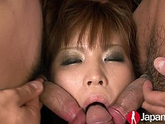 Whorish chick Ai Sakura takes cum in her mouth after pussy toying