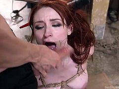 Violet had a rough night yesterday. Her boyfriend caught her cheating and dragged her in to the garage, where he tied her naked body with ropes, spanked her ass with a stick and fucked her mouth brutally. She was yelling, while he was drilling her asshole roughly.