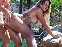 Blonde beauty, sensual outdoor fucking in exotic places