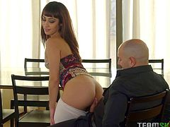 Lucia is teaching this guy some dancing, but he doesn't seem to be getting it like he should. She shows her moves by wiggling her booty, then shows him what her mouth can do, and he really gets some enjoyment out of that. He'll get more when his cock is buried in her Latina snatch.