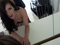 Brunette Adriana Chechik enjoys having crazy sex in front of the mirror
