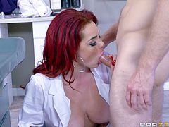 This patient came for the operation on his balls. Doctor needs to have them empty, so she decided to suck his dick, to make it easier. She gave him blowjob, but this was not enough. So she removed her uniform and took his cock in her pussy...