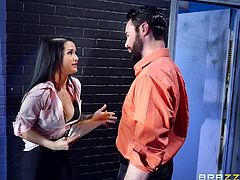 My boss wanted to fire me, but I knew, how to save my job. I just opened the buttons of my shirt and let my big boobs to spread the lust. I rubbed my pussy, until he lost control, and started to eat my cunt. He sucked my boobs and shoved fingers in my asshole. My leg was on his shoulder, when...