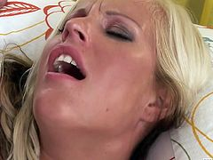 Trashy looking blonde with tan lines Nataly Gold enjoys having wild sex with BBC