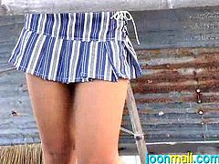 Joon is known around the world as a stunning sexy Southeast Asian beauty. Her dark tan skin glistens with sweat, as she teases and acts naughty. Today she is out at a hut on the beach, masturbating and flashing her cute panties, underneath her skirt.