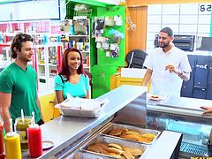 Who could reject such an offer? Those guys offered the customers to get their hearty breakfast not only for free, but also to earn some cash. So two pretty babes with big titties immediately jumped on this opportunity and opened their hungry mouths. Surprise! A pair of hot sausages for fans of freebies!