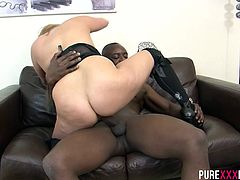 Filthy horny housewife can´t have enough cock and does her best to enjoy the biggest cock in town. She takes it black and strong.