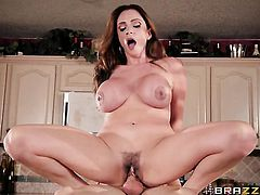 Brunette Ariella Ferrera with massive jugs takes dick so fucking deep after foreplay