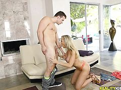 Tattooed Brandi Love with juicy bottom and hairless beaver gets her mouth destroyed by dudes love torpedo