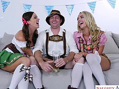 Everybody is welcome on our Bavarian party! This guy has two lovelies on a comfy couch and they have no problem sharing his cock. They ride and suck him, tasting each other's juices on his thick bratwurst.