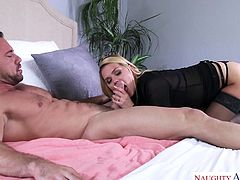 Abby sees her husband out the door, then gets her sexy lingerie on. She talks to her lover, as she gets dressed, then goes to see him, to get that dick. He's real good, making her scream and cum every single time.