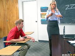 When I entered in the classroom, I saw my teacher masturabting on the chair. Her shirt's button was open, her skirt was up, and she was inserting pen in her pussy. She grabbed my dick and asked me to fuck her. She massaged my hard cock, while I rubbed her big ass. I fucked her on the table...