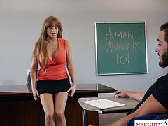 Darla Crane is a slutty teacher with big tits and amazing ass. This horny lady preys on her students. The moment she suspects one of her students has a big cock, she immediately starts her game of seduction. Darla is an expert cock sucker and loves getting her big tits covered with sticky cum.