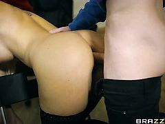 Blonde Blanche Bradburry with massive tits has fire in her eyes as she enjoys anal hole fucking