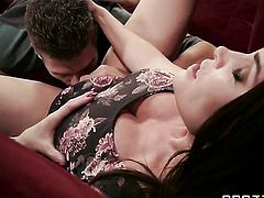 Brunette porn diva Diamond Foxxx with huge tits is never enough and takes Xander Corvuss rock solid meat pole in her mouth again and again