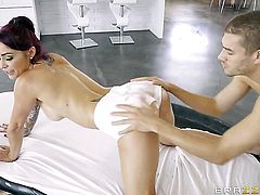 Redhead Monique Alexander gets turned on then face banged by Xander Corvus