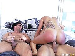 Brunette Toni Ribas with gigantic breasts gets her beaver trained by sturdy tool of Keiran Lee