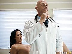 Johnny Sins gets his always hard boner used by Brunette with huge tits