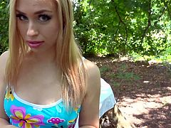 Alana approached me, while i was walking through the park and asked for some money. She told me, that she is in a hard situation and need cash, to buy some food. I felt sorry for this hungry teen and offered her my warm, fresh sausage. Watch Alana sucking my dick with great passion. Enjoy impetuous sex action!