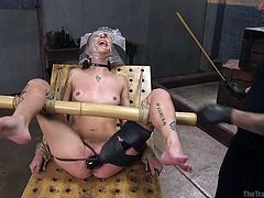 Meet Kacie and her master Tommy, in today's issue of The Training Of O. This sweet slender babe will receive some really perverted pleasures. Tommy will start everything with a light breath play, covering the face of his sex slave with a plastic bag. Then, while fingering her dripping cunt, he will stimulate her with electric wand