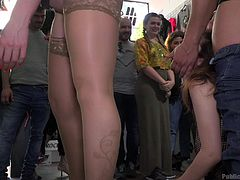 This videos will show the first experience of Zenda and Yasmin as sex slaves. Somewhere in public, Zenda licked Yasmin's pussy, while guests were fingering her from behind. Strong hunk inserted cock in Zenda's pussy and fucked her in reverse cowgirl, while Yasmin was squeezing her breasts...