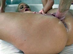 Visit official RK Network's HomepageBlonde woman with ipressive pair of tits, Nina Elle, leaves horny man to fuck her big time and in the end, splash cum down her needy little pussy