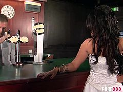 Brooklyn Blue is one horny cheating wife. She goes down and dirty on the bartender on her wedding day celebration.