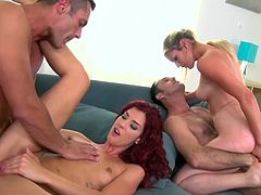 Visit official RK Network's HomepageShona River feels more than pleased as well as excited to have lustful Mira Sunset allong side, swappiwn gtwo big cocks with her in a top foursome