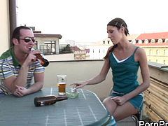 Skinny babe Lenka seduces a hung stallion and has her twat hammered