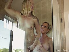 Brandi love is one of the hottest milf pornstars in the biz. She loves to fuck guys, but she is just as skilled in some hot lesbian action. Today she is in the shower with up and coming starlet Ash Hollywood. Ash loves to eat cunt.