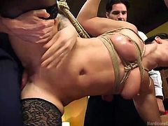 Everyone gets a turn to fuck this hottie in the restaurant. It's a hot orgy after the serving for the day is done. The chef and waiters take turns fucking her twat, as she is bound up in rope and humiliated.