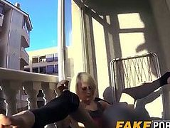 Skinny blonde babe Nora hammered by big dick fake cop