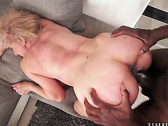 Mature takes it in her snatch after guys dick becomes stiff and hard