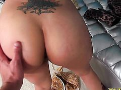 Tattooed senorita Coco Valentina does striptease before she plays with her wet spot