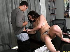 Brunette sex kitten with juicy tits has a nice time playing with guys cum loaded dick