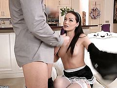 Brunette whore lets man cover her nice face in cream