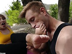 Blonde with giant breasts gets her twat destroyed by mans sturdy meat pole