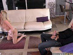 Beautiful blonde Katie Morgan and her hubby, Alec have a black handyman, Jax....