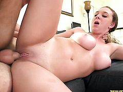 Levi Cash has unthinkable oral sex with Brunette Brooke Wylde with massive tits and clean bush