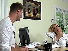 Blonde Cherie Deville with massive tits and shaved beaver polishes Levi Cash's rock hard ram rod wit