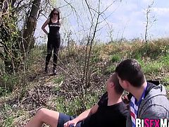 Big tits brunette gets hammered in this bisexual threesome