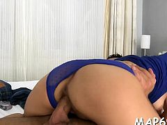 Bitch acquires pleasured by a vibrator and hard cock as well