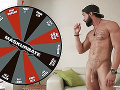 Spin the wheel and see what happens you sexy, hairy hunk. Wouldn't you just love to lick his muscles? He landed on the square that says he had to uses a penis pump, to masturbate. Look at how hard he is now.